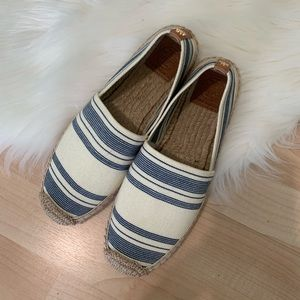 Tory Burch Striped Canvas Espadrille Slip Ons 8